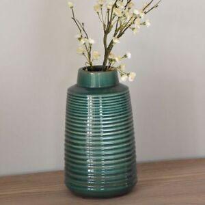 Dark Emerald Green Ribbed Vase, Tall Ceramic Bottle 27x16cm, Mid Century Modern