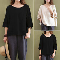 Women Casual Vintage Long Sleeve Cotton Linen Loose Shirt Top Blouse STYLE NEW K