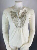 Meadow Rue XS Women's Metallic Floral Long Sleeve Top Blouse White Cotton