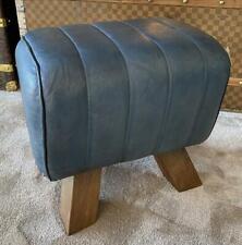 Blue Leather Stool / Footstool Wood Legs Pommel Horse Style Retro Vintage