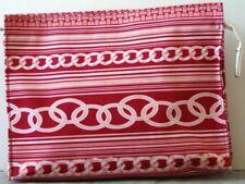 EUC Red & Pink CLUTCH Cosmetic BAG by CLINIQUE Striped w.CHAIN Design TOP ZIPPER