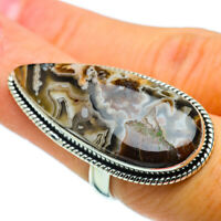 Large Laguna Lace Agate 925 Sterling Silver Ring Size 6.75 Jewelry R36891F