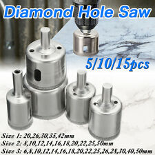 5 Diamond Hole Saw Set Drill Bit Tile Glass Marble Granite Slate Cutting 20-42mm