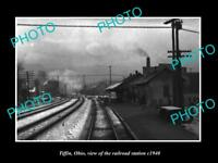 OLD LARGE HISTORIC PHOTO OF TIFFIN OHIO THE RAILROAD DEPOT STATION c1940