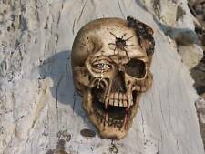Goth Skull Bullet in Head Fangs Hand Painted Scorpion Bone Decoration new