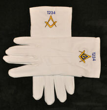 Masonic Gloves Embroidered with Lodge Number of Choice - All sizes in stock