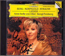 Anne Sofie de Otter signé montagne sept précoces chansons Korngold Strauss CD Alban