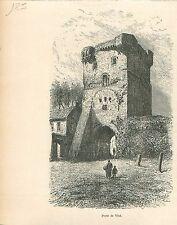 Ferme du Temple de Visé Wezet Vizé Liège Wallonie GRAVURE ANTIQUE OLD PRINT 1880