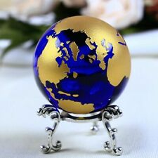 60MM Blue Gold Crystal Earth Model Glass Globe Ball Home Decoration Gifts