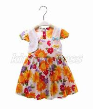 Kid Toddle Baby Girl Spring Summer Sun Flowers Dress Orange White 12-18M Z649A