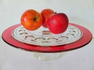 Vintage Cranberry Rim Glass Footed Cake Stand, King's Crown Thumbprint, 1950's