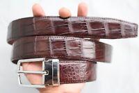 Dark Brown Genuine Alligator, CROCODILE Leather Skin Men's Belt