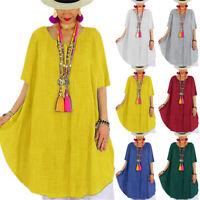 Plus Size Women Summer Short Sleeve T-Shirt Ladies Curved Hem Tunic Loose Dress