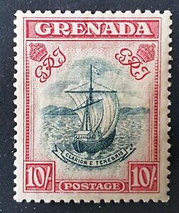 Grenada - 1937 - Sc 142 - 10Sh Rose Carmine and Blue Seal MH cv=US$19.00