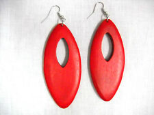 BOLD LARGE RICH TRUE RED COLOR STAIN REAL WOOD DANGLING MARQUIS HOOP EARRINGS