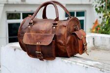 Genuine Brown Soft Leather Men's Handmade Travel Tote Duffle Gym Shoulder Bag