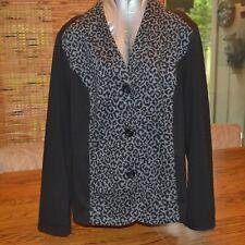 Chico's Black Leopard Print Size 3 Jacket Lapel Collar Button Front Blazer Top