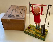 Antique tin & celluloid wind-up acrobat flipping toy in box CK Kuramochi Japan