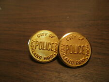 2 Vintage Police Buttons - Brass - CITY of HIGHLAND PARK, MICH