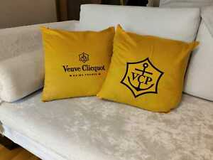 2 X New Veuve Clicquot Champagne Pillow Embroidered Set Of Rare
