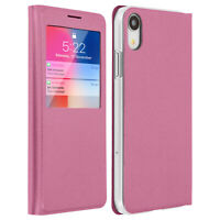 Smart view window flip case for Apple iPhone XR, slim cover - Pink