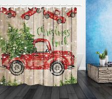 Xmas Farm Red Truck Rustic Wood Wall Snowflake Shower Curtain Set Bathroom Decor