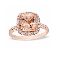 Natural Pink Morganite and Diamond 14K Rose Gold Cocktail Ring