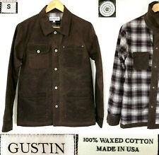 GUSTIN NEW FIELD JACKET WAXED COTTON DUCK CANVAS FLANEL-LINED MADE IN USA Size S