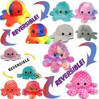 Cute Double-Sided Flip Reversible Octopus Plush Toys & Key Rings Funny Doll Gift