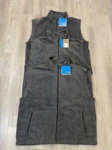 Lot Of 3 NEW Mens Gray Columbia Cathedral Peak Full Zip Fleece Vest Size XXL 2XL