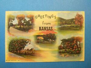 Kansas Greetings, 5 views, KS, Kansas, Vtg PC Postcard