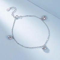 Real 925 Sterling Silver Kitty Bracelet Chain Bangle SOLID SILVER Jewelry Italy