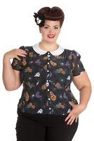 XXL Pumpkin Halloween Blouse Shirt Black Collar Hellbunny UK 18
