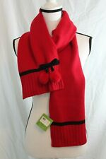 Kate Spade New York Bow Pom Scarf Knit Charm Red Black Wool Blend MSRP $78 NEW
