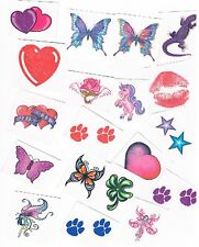 10 x Assorted Kids Glitter Temporary Tattoos - Great Party Favours
