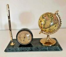 Vintage Desk Set Rotating Globe RAMBOLD Pen Thermometer On Green Marble Pedestal