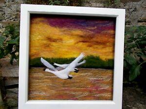 Wet & Needle Felted Wool & Silk Picture of Birds - Swans - 35 cm Box Framed OOAK