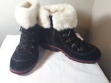 Ladies WOOLRICH hiking boots ankle fur trim black suede leather side zip Retro 7