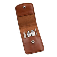 4Pcs Pro Stainless Steel Nail Clipper Manicure Leather Case Tool Set Useful Us