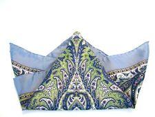 Rare Women's THOMAS PINK Silk Scarf Blue Paisley Italian Hand Rolled 21 Inch Sq