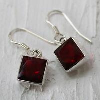 Granat Ohrringe Silber 925 Ohrhänger Rot Elegant Quadrat facettiert eckig ts