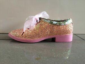 Irregular Choice Boy trouble (C) Loafers Brogues Pink Glitter Shoes EU 36 UK 3.5