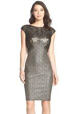 NWT! Tadashi Shoji Sequin Foiled Jersey Sheath Dress Black/Gold [SZ XL] #M295