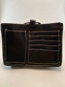 Pouchee Brand Hand Bag Organizer Purse Insert Travel Wallet Black Leather