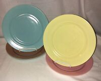 "5 Hazel Atlas OVIDE PASTEL*8 3/4"" DINNER PLATES* TURQUOISE*YELLOW*PINK*BROWN*"
