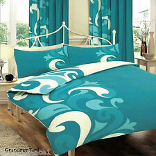 Modern Grandeur Duvet Cover With Pillow Case Bedding Set Various Colours Double Teal
