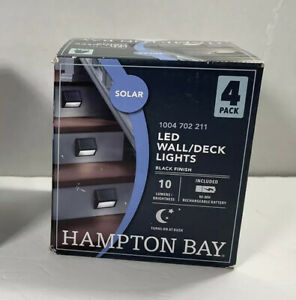 4 Pack NEW IN BOX Hampton Bay Solar LED Stair/Deck/Wall Light Black 8 Hours