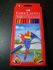 Faber Castell 24 Tri Colour Pencils Set Triangular Grip Colo Pencil Free Ship