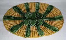 Majolica yellow & green glaze vintage Art Deco antique bread plate platter