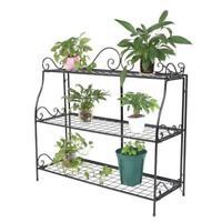Plant Stand Multi Tier Metal Flower Rack Pot Shelves Outdoor Yard Garden Display